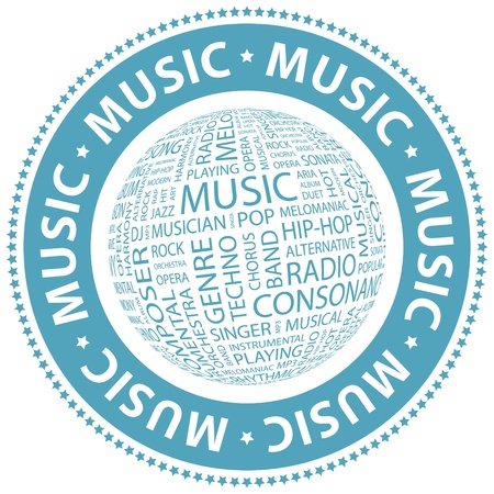 MUSIC  Word collage Stock Vector - 18432561
