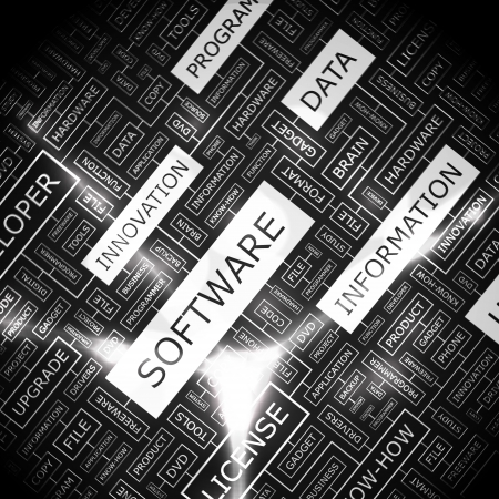 engineering design: SOFTWARE  Word collage Illustration