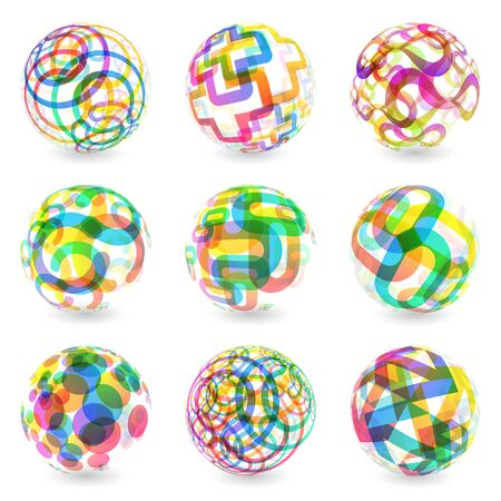 Abstract globe set   illustration   Stock Vector - 17540463