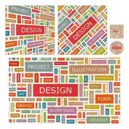 target thinking: DESIGN  Word collage
