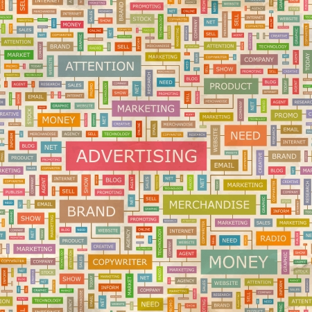 branded product: ADVERTISING  Seamless word collage
