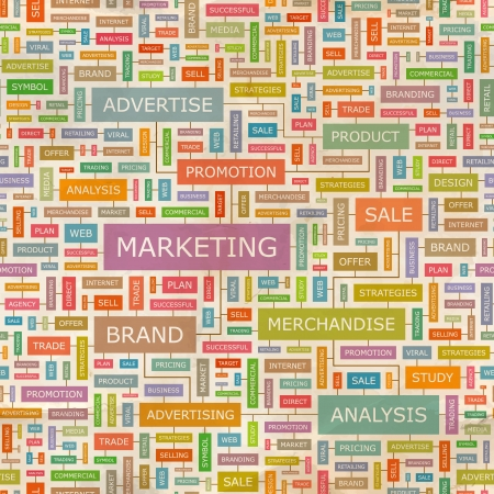 MARKETING  Word collage  Seamless vector pattern