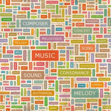chanteur opéra: Modèle de collage MUSIQUE Parole sans soudure Illustration