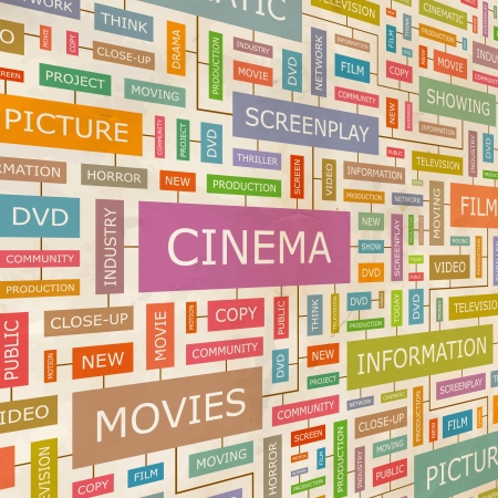 CINEMA  Word collage  Vector