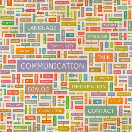 kommunikation: KOMMUNIKATION Word collage Sömlös mönster