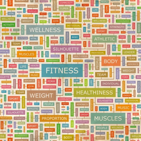 hardiness: FITNESS  Word collage Illustration