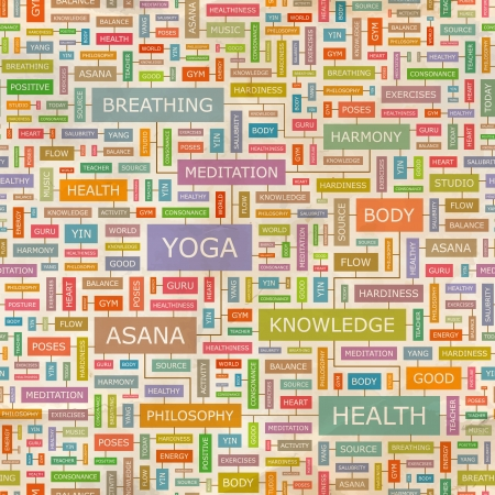 yoga asana tree pose: YOGA  Word collage  Seamless pattern