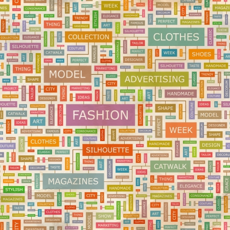 FASHION  Word collage  Seamless pattern  Vector