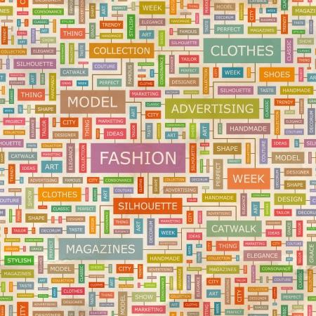 Word collage FASHION Seamless pattern