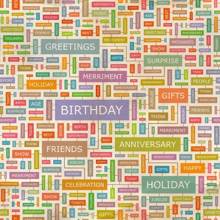 best wishes: BIRTHDAY  Word collage  Seamless vector pattern  Illustration
