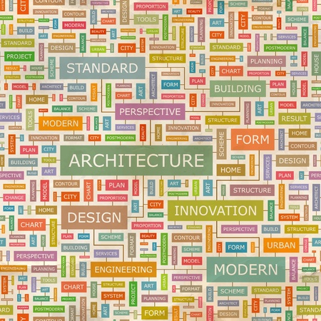 ARCHITECTURE  Word collage  Seamless vector pattern  Stock Vector - 18375781