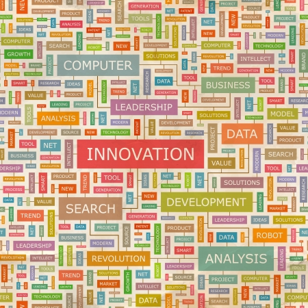technological: INNOVATION  Word collage  Seamless pattern
