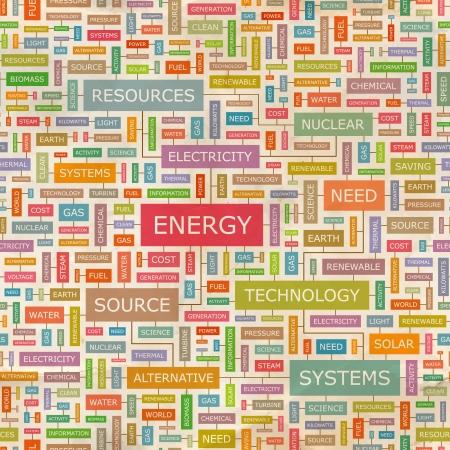 ENERGY Wort Collage Nahtlose Muster Vektorgrafik