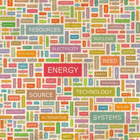 central hidroelectrica: Word collage ENERGY Seamless pattern