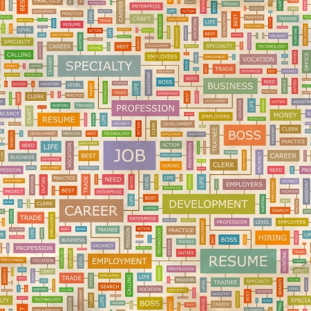 hire: JOB  Word collage Illustration