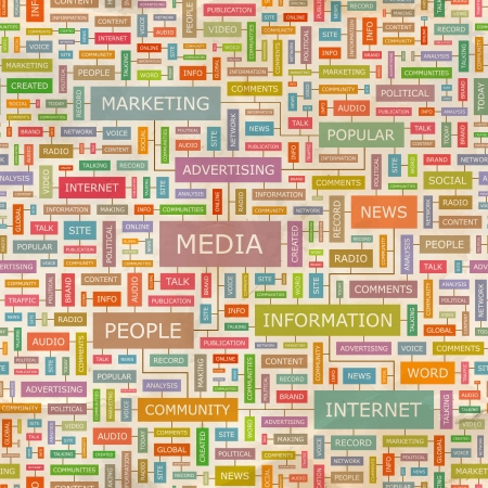 MEDIA  Word collage  Seamless vector pattern