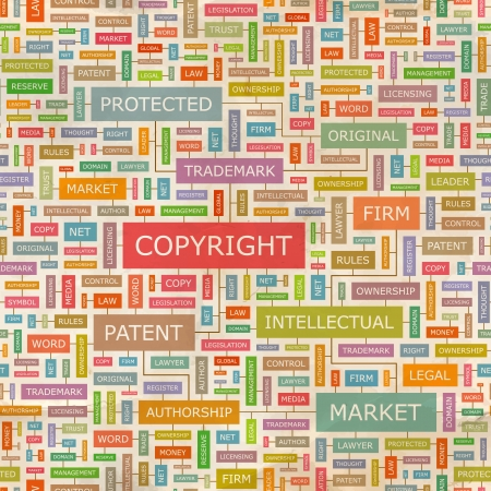 property rights: COPYRIGHT collage Palabra Vectores