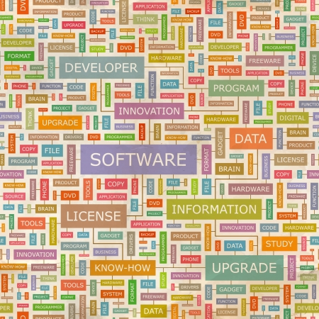 SOFTWARE  Word collage  Seamless pattern  Vector