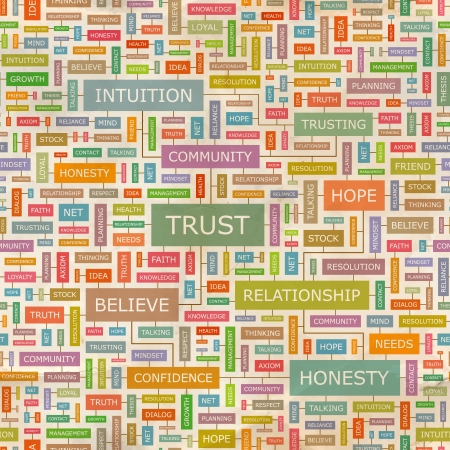 TRUST  Word collage  Seamless pattern  Vector