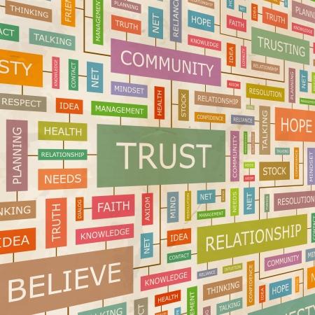 trusting: TRUST  Word collage  Illustration
