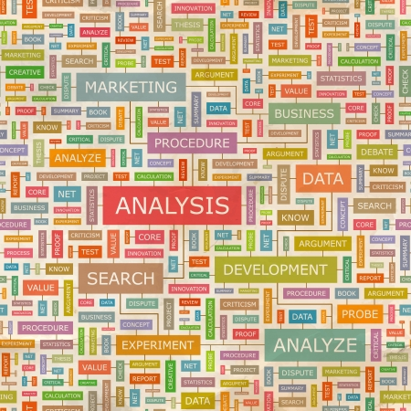 ANALYSIS  Word collage  Seamless pattern  Vector