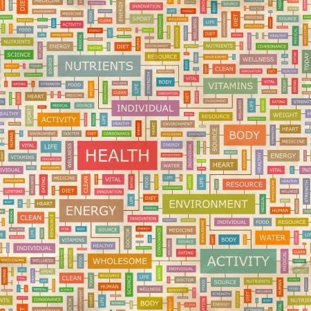 HEALTH  Word collage  Seamless illustration  Vector