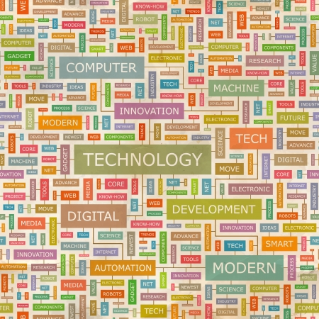 TECHNOLOGY  Word collage  Seamless pattern  Vector