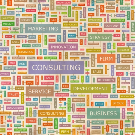 CONSULTING  Seamless word collage Vector