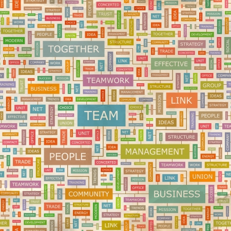 TEAM  Word collage  Seamless pattern  Vector