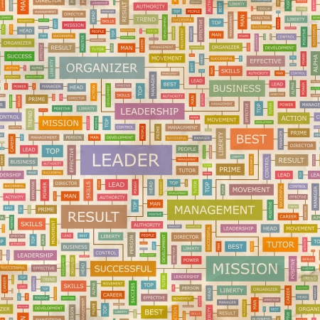 LEADER  Word collage  Seamless pattern  Vector