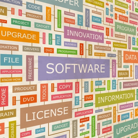 productivity system: SOFTWARE  Word collage Illustration