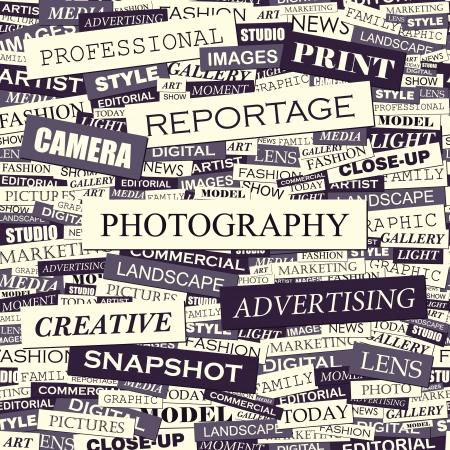 FOTOGRAFIE Word collage Naadloze illustratie