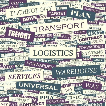 air freight: LOGISTICA Parola di collage illustrazione senza soluzione di continuit� Vettoriali
