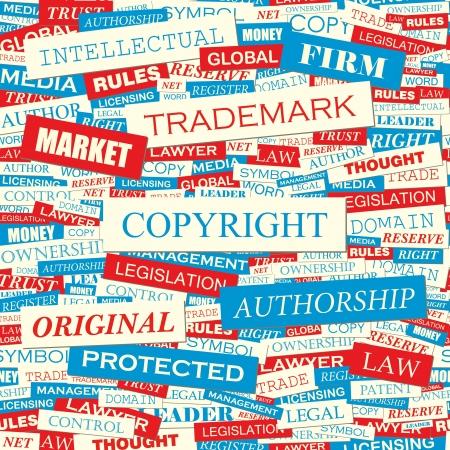 COPYRIGHT  Seamless word collage illustration  Vector
