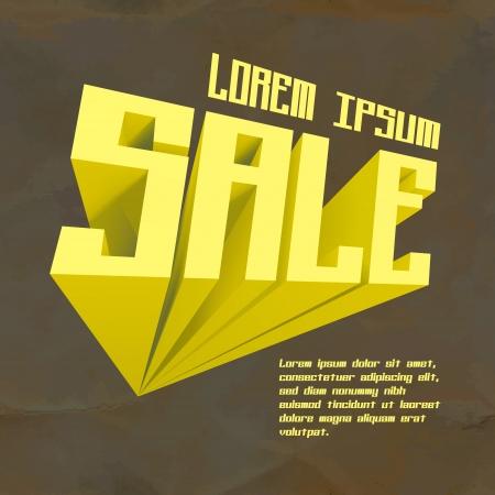 dimensions: SALE  3d word   illustration  Illustration