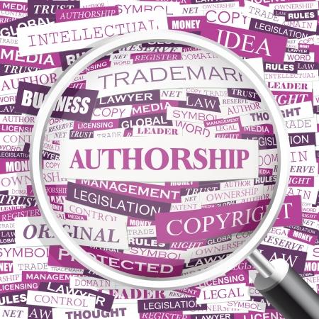 authorship: AUTHORSHIP  Word cloud concept illustration