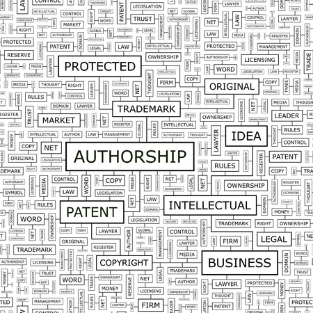 AUTHORSHIP  Word cloud concept illustration    Vector