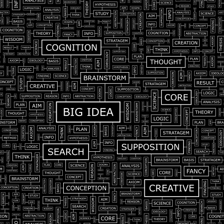 BIG IDEA  Word cloud concept illustration  Vector
