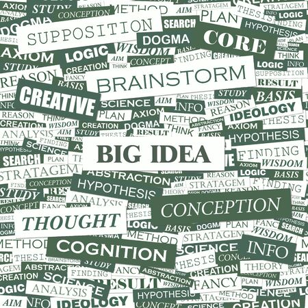 BIG IDEA  Word cloud illustration  Tag cloud concept collage  Vector illustration  Vector