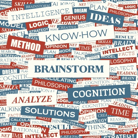 BRAINSTORM  Word cloud concept illustration  Vector