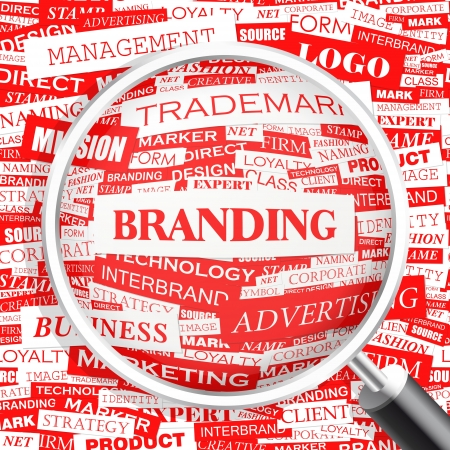 brand new: BRANDING  Word cloud concept illustration