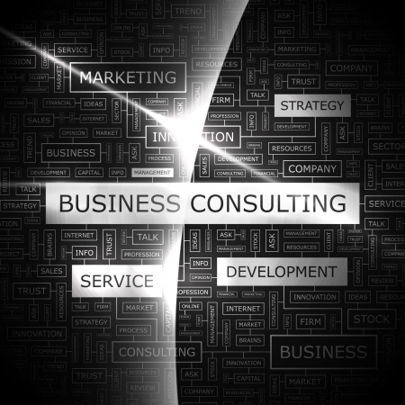 consulting services: BUSINESS CONSULTING  Word cloud concept illustration  Illustration
