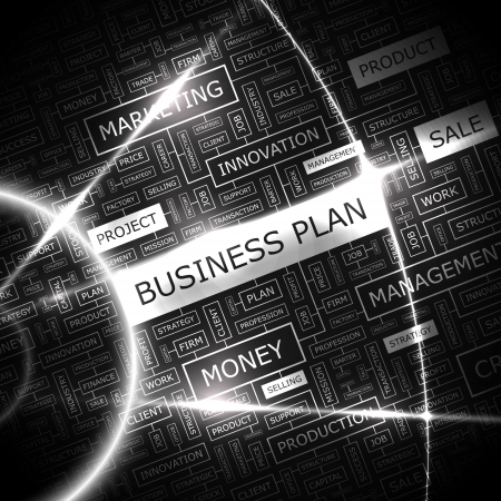 BUSINESS PLAN Word cloud concetto illustrazione