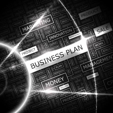 BUSINESS PLAN Word Cloud Konzept Illustration Illustration