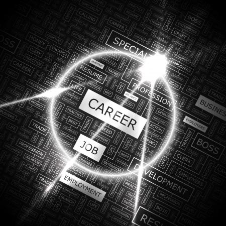 キャリア: キャリアの単語雲の概念図  イラスト・ベクター素材