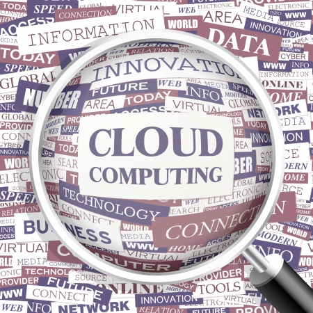 CLOUD COMPUTING  Word cloud concept illustration    Vector
