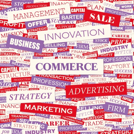 COMMERCE  Word cloud concept illustration  Vector