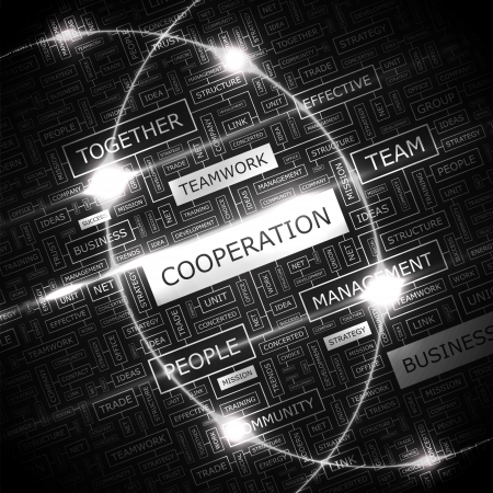 COOPERATION  Word cloud concept illustration    Vector