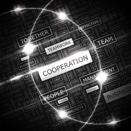 collaboration team: COOPERATION  Word cloud concept illustration    Illustration