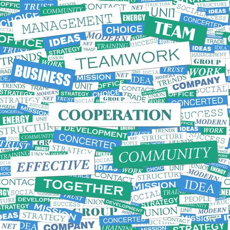 COOPERATION  Word cloud concept illustration